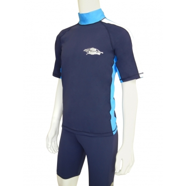 T-shirt de surf manches courtes anti uv homme - Bleu marine/Blanc/Azure