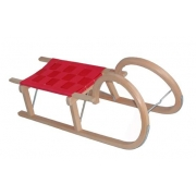 Luge traditionnelle bois 110 cm avec assise rouge