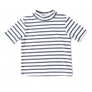 T-shirt manches courtes anti uv enfant - Blanc rayé Bleu