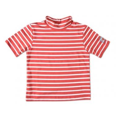 T-shirt manches courtes anti uv enfant - Rouge rayé blanc