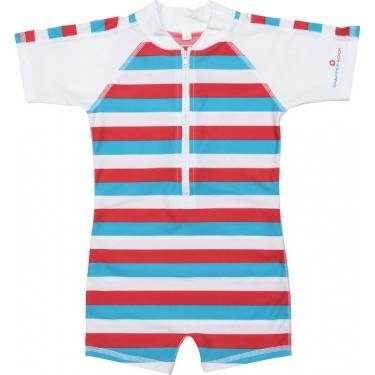 Maillot de bain une pièce manches courtes anti uv enfant - Rouge/Bleu/rayé blanc