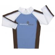 T-Shirt manches longues anti uv bleu ple/chocolat/blanc