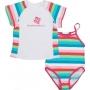Maillot de bain une pièce + T-shirt fille anti uv - Rayé Multicolore