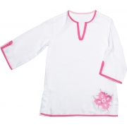 Caftan anti uv fille - Blanc/Rose
