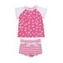 Kit de bain manches courtes anti uv enfant - Hot Pink Daisy