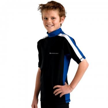 T-shirt de bain manches courtes anti uv junior - Noir/Blanc/Bleu ocean