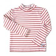 T-shirt manches longues anti uv enfant - Blanc rayé rouge