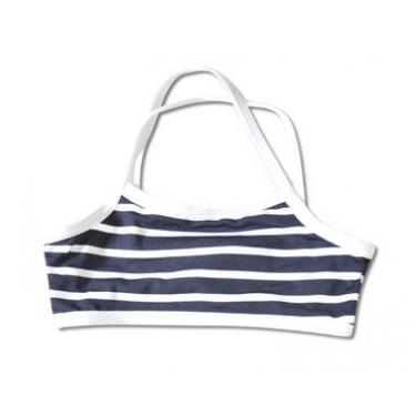 Haut de maillot de bain anti uv enfant - Bleu rayé blanc