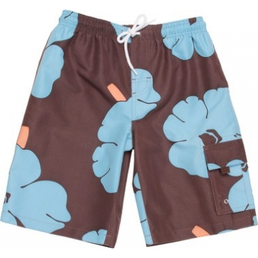Boardshort anti uv enfant - Marron/ Aqua Fleuri
