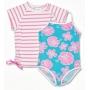 Maillot de bain une pièce + T-shirt fille anti uv - Hibiscus