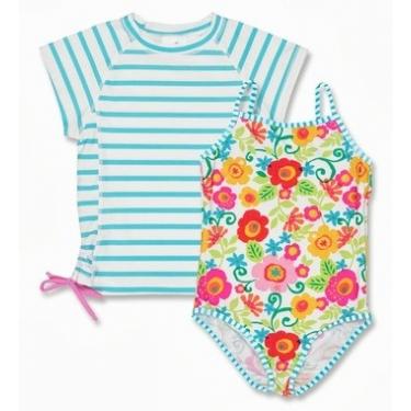 Maillot de bain une pièce + T-shirt fille anti uv - Fleur du Jardin