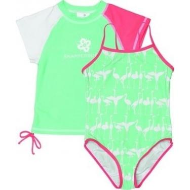 Maillot de bain une pièce + T-shirt fille anti uv - Flamingo
