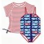Maillot de bain une pièce + T-shirt fille anti uv - Stripe Fish