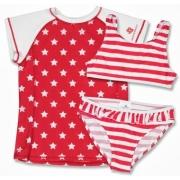 Bikini deux pièces + T-shirt anti uv fille - Stars and stripes