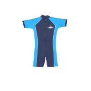 Maillot de bain une pièce manches courtes anti uv junior - Bleu marine/Azure