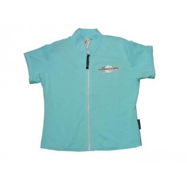 T-shirt manches courtes anti uv zippé femme - Bleu clair