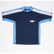 T-shirt de bain manches courtes anti uv junior - Bleu marine/Blanc/Azure