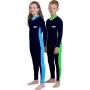 Maillot de bain une pièce manches longues anti uv junior - Bleu marine/Azure